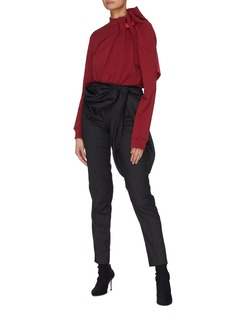 Y/Project Gathered drape panel pinstripe skinny suiting pants