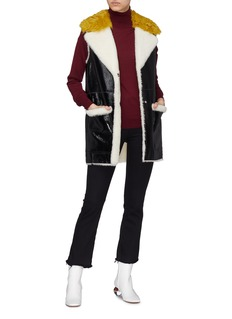 Yves Salomon Lamb fur trim patent leather gilet