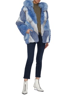 Yves Salomon Colourblock fox mink fur panel shearling jacket