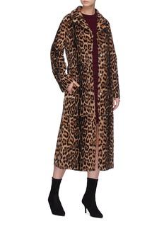 Yves Salomon Belted leopard print lamb fur coat