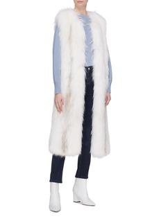 Yves Salomon Stripe fox fur long gilet