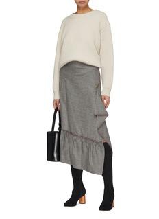 Roland Mouret 'Barnette' ruffle drape asymmetric houndstooth check wool skirt