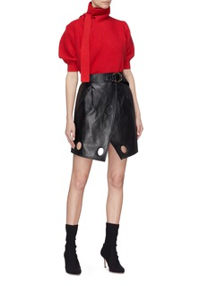 self-portrait Belted cutout faux leather wrap skirt
