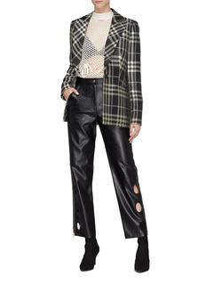 self-portrait Cutout cuff zip outseam faux leather pants