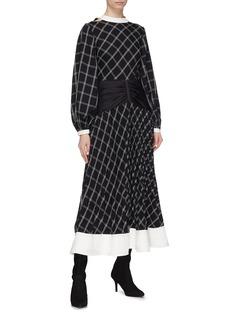 self-portrait Waist panel split sleeve windowpane check midi dress