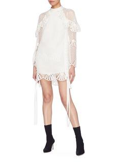 self-portrait Button drape outseam ruffle crochet knit tunic dress