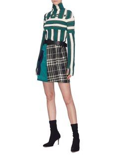 self-portrait Belted colourblock check plaid patchwork skirt