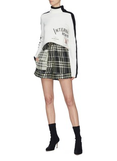 self-portrait Buckled contrast pocket check plaid jacquard shorts