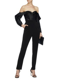self-portrait 'Midnight' ruffle sleeve off-shoulder jacquard jumpsuit