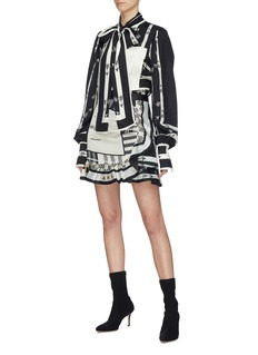 self-portrait Eyelet frill scarf print mini skirt