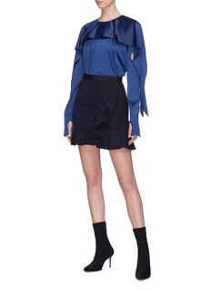 self-portrait Ruffle guipure lace mini peplum skirt