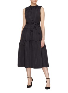 Co Belted ruched tiered sleeveless dress