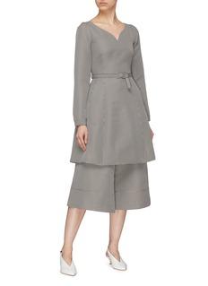 Co Belted houndstooth flared dress