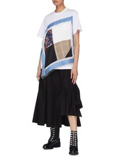 3.1 Phillip Lim Beaded fringe patchwork handkerchief panel T-shirt