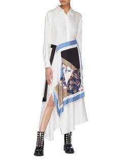 3.1 Phillip Lim Beaded fringe patchwork handkerchief panel shirt dress
