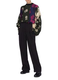 3.1 Phillip Lim Fringe ruched sleeve patchwork floral jacquard top