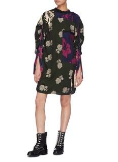 3.1 Phillip Lim Fringe ruched sleeve patchwork floral jacquard dress
