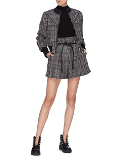 3.1 Phillip Lim Drawcord smocked cuff tweed track jacket