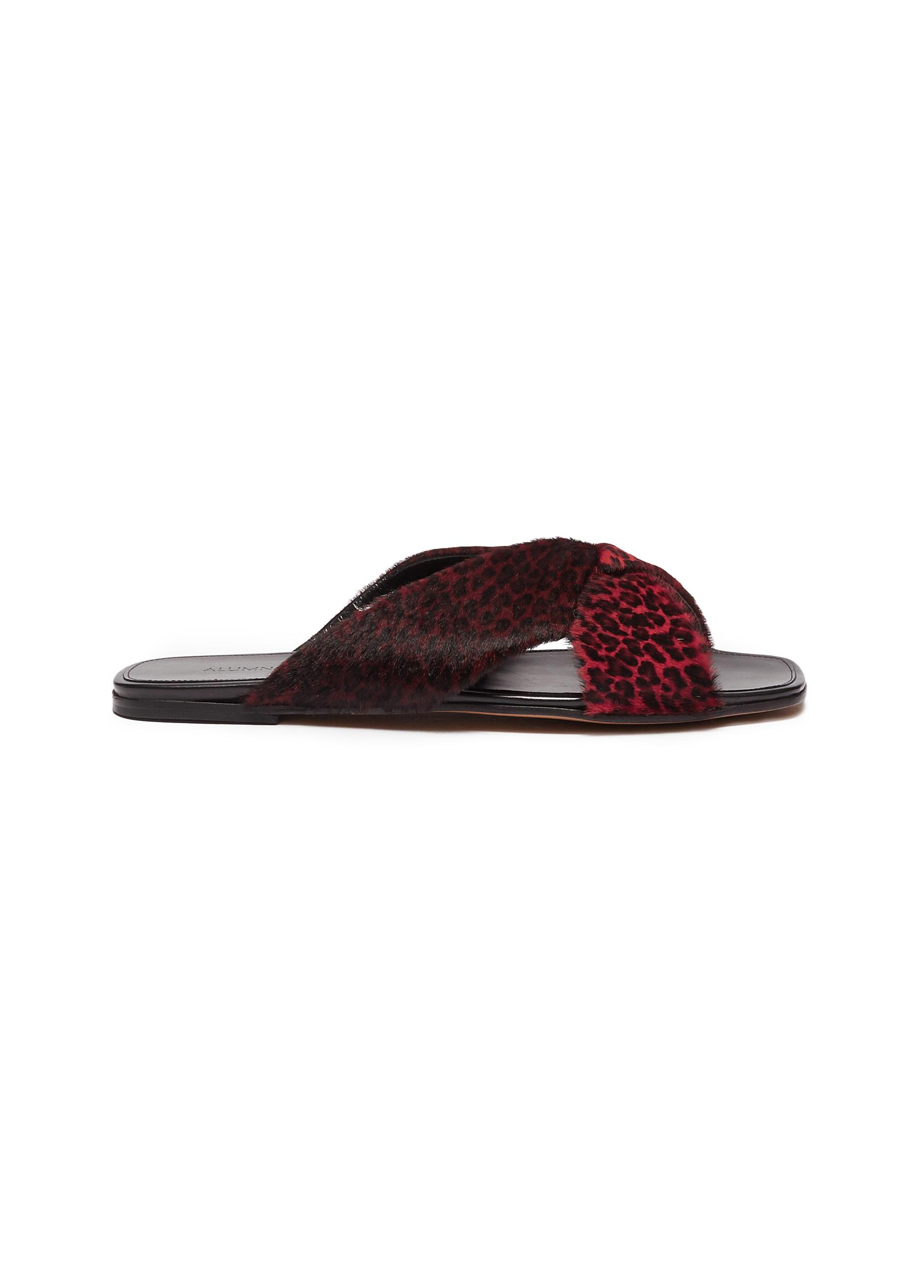 X-Slide leopard print calfhair slide sandals by Alumnae