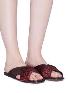 Alumnae 'X-Slide' leopard print calfhair slide sandals