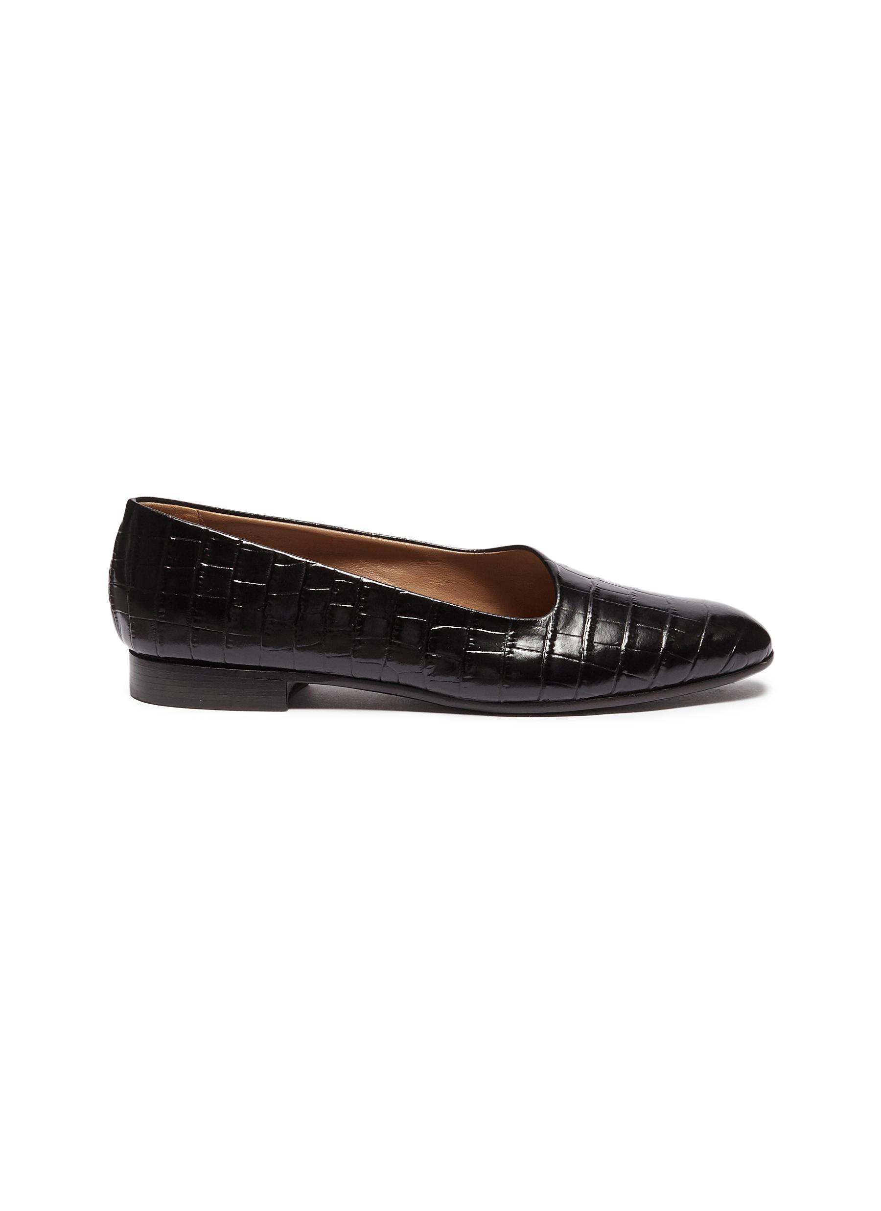 Garconne croc embossed leather flats by Alumnae