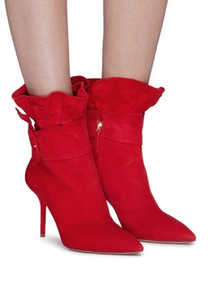 Aquazzura 'Palace' ruffle buckled suede ankle boots