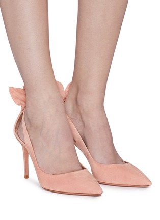 Figure View - Click To Enlarge - AQUAZZURA - 'Deneuve' bow cutout suede pumps