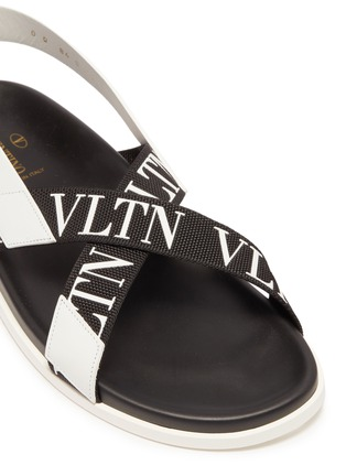 Detail View - Click To Enlarge - VALENTINO - Logo print cross strap slingback sandals