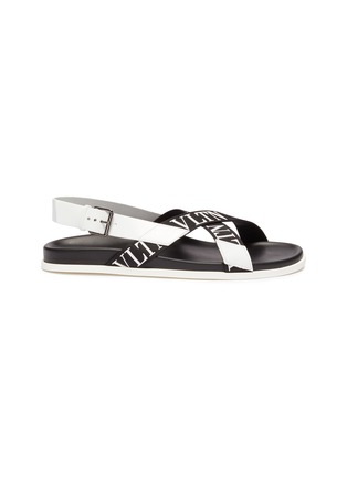Main View - Click To Enlarge - VALENTINO - Logo print cross strap slingback sandals