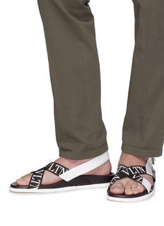 Valentino Logo print cross strap slingback sandals