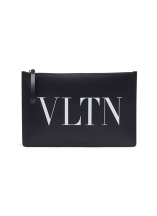 Main View - Click To Enlarge - Valentino - Logo print leather zip pouch