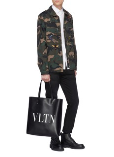 Valentino Logo print leather tote bag