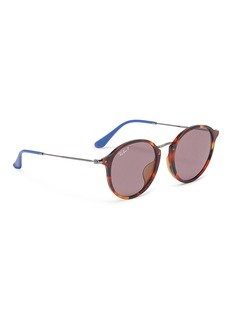 Ray-Ban 'Fleck' tortoiseshell acetate front metal round sunglasses