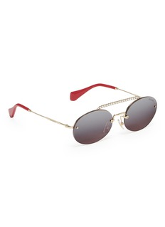 miu miu Glass crystal brow bar mirror metal oval sunglasses