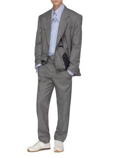 Y/Project Asymmetric waist wool herringbone check plaid pants