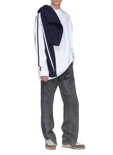 Y/Project Stripe sleeve convertible colourblock layered sweatshirt