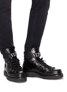 Valentino Logo strap leather boots