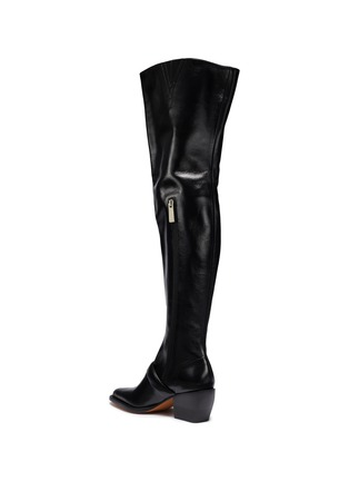 Detail View - Click To Enlarge - Chloé - 'Rylee' buckled thigh high leather boots