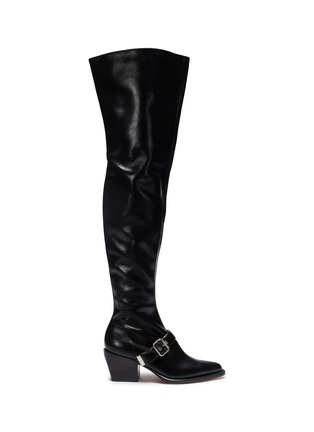 Main View - Click To Enlarge - Chloé - 'Rylee' buckled thigh high leather boots