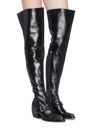 Figure View - Click To Enlarge - Chloé - 'Rylee' buckled thigh high leather boots
