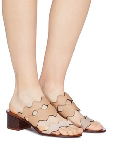 Chloé Scalloped strap suede and leather sandals
