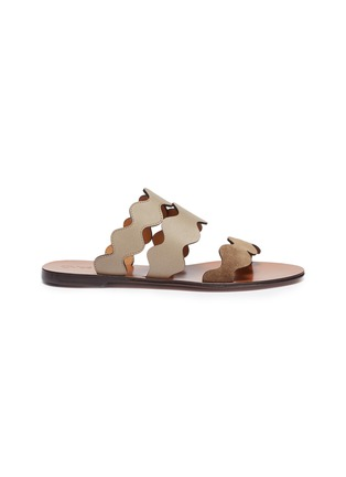 Main View - Click To Enlarge - CHLOÉ - Scalloped strap suede and leather slide sandals
