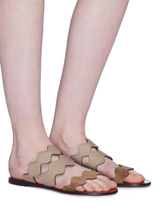 Figure View - Click To Enlarge - CHLOÉ - Scalloped strap suede and leather slide sandals