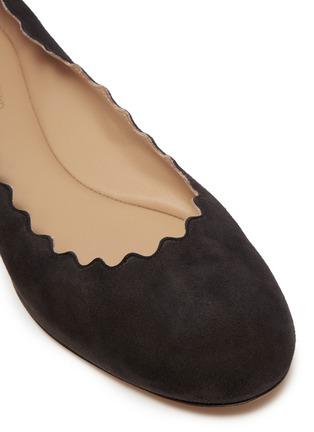 Detail View - Click To Enlarge - Chloé - 'Lauren' scalloped suede ballet flats