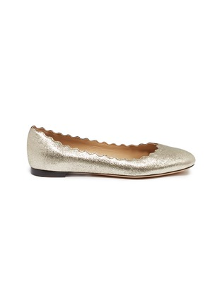 Main View - Click To Enlarge - Chloé - 'Lauren' scalloped metallic leather ballet flats