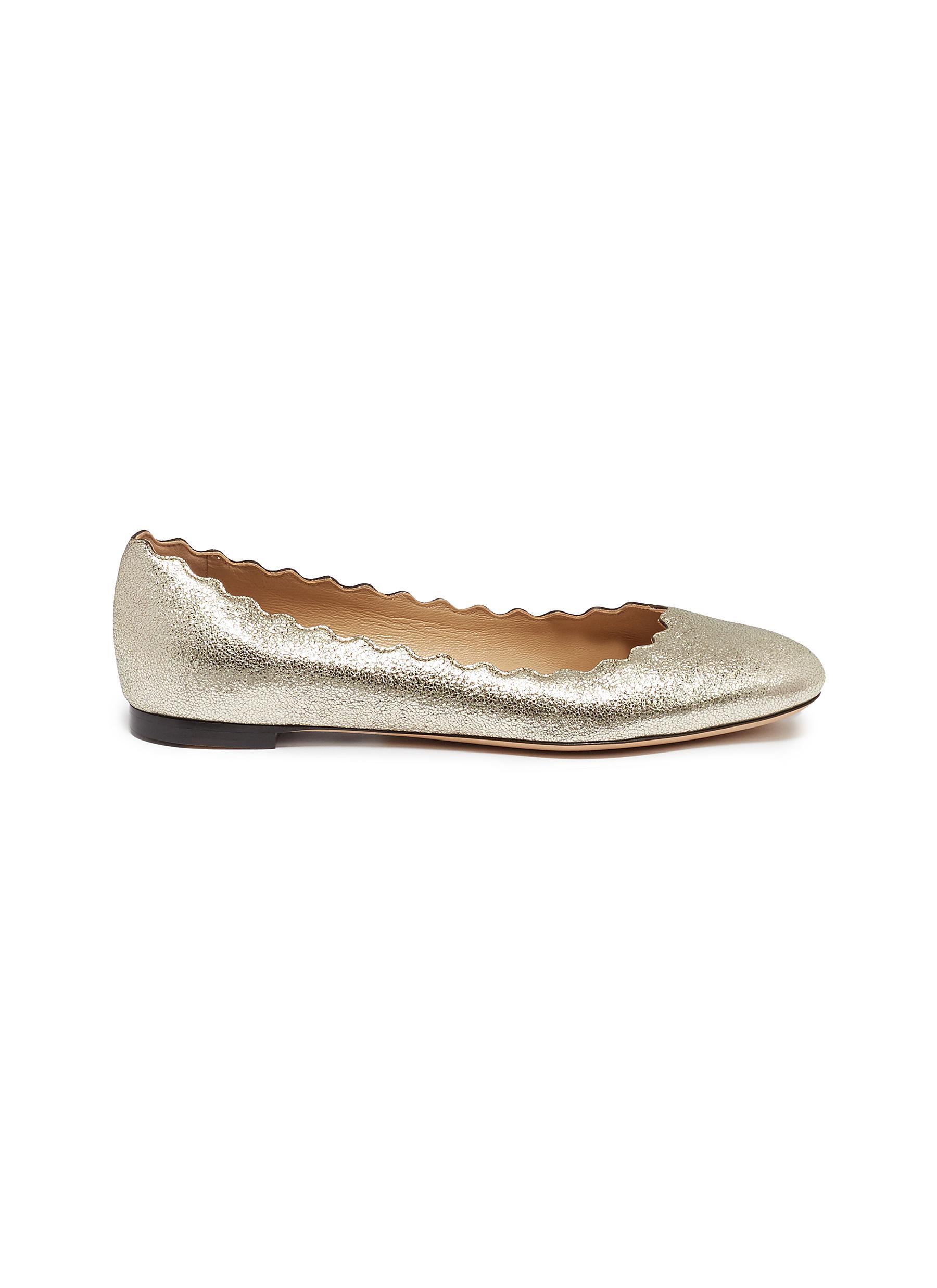 624932335a3c Chloé.  Lauren  scalloped metallic leather ballet flats