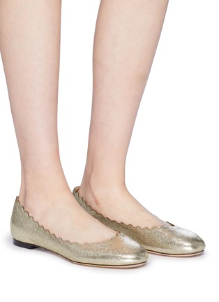 Figure View - Click To Enlarge - Chloé - 'Lauren' scalloped metallic leather ballet flats