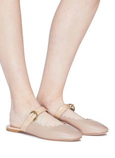 Chloé 'Lauren' scalloped leather Mary Jane slides