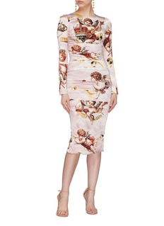 Dolce & Gabbana Angel print ruched silk satin dress