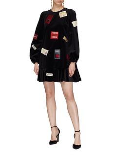 Dolce & Gabbana Mix slogan patch velvet peplum dress